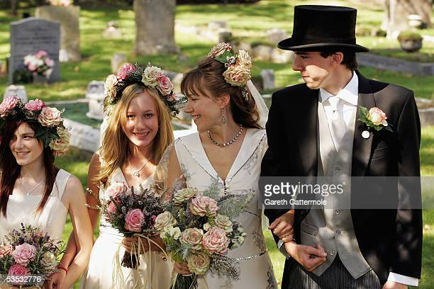 Christabel McEwen with children Mabel Holland and Jack Lampton arrive at St James's Church on August 30 2005 in Cooling England The Archbishop Of...