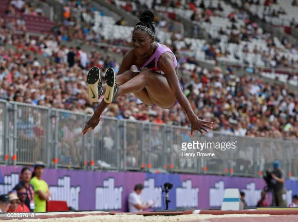 Christabel Nettey of Canada in action during the Muller Anniversary Games at London Stadium on July 21 2018 in London England