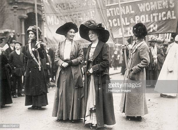 Christabel Pankhurst at a suffragette demonstration c1910 Behind is a banner for the Women's Social and Political Union one of the principal forces...