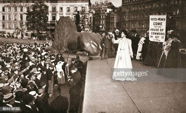 Christabel Pankhurst British suffragette addressing a crowd in Trafalgar Square London 11 October 1908 Christabel Pankurst one of the founders of the...