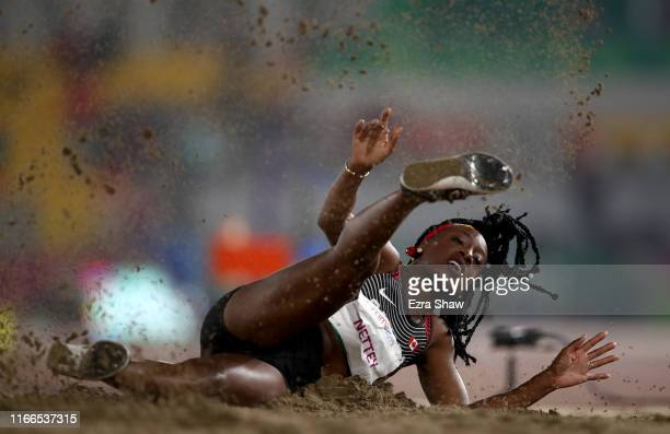 Christabel Saak Nettey of Canada jumps in Women's Long Jump Final on Day 11 of Lima 2019 Pan American Games at Athletics Stadium of Villa Deportiva...