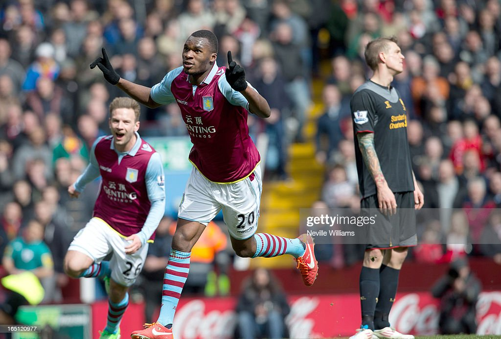 Christain Benteke of Aston Villa celebrates his goal for Aston Villa during the Barclays Premier League match between Aston Villa and Liverpool at Villa Park on March 31, 2013 in Birmingham, England.