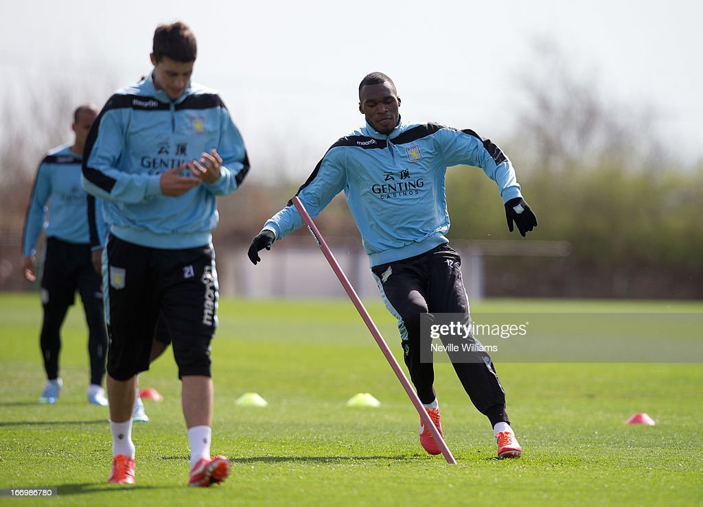 Christain Benteke of Aston Villa trains with his team mates during a Aston Villa training session at the club's training ground, Bodymoor Heath on April 19, 2013 in Birmingham, England.