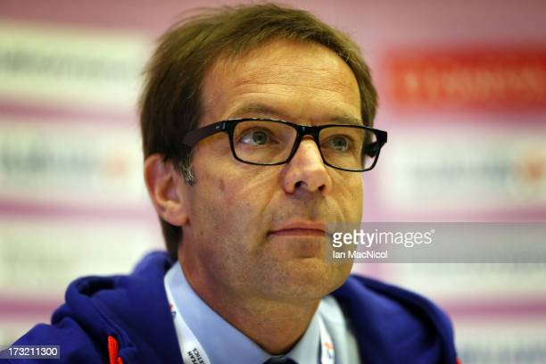 Christain Milz European Athletics Director General speaks during the press conference prior to The European Athletics U23 Championships 2013 fly in...