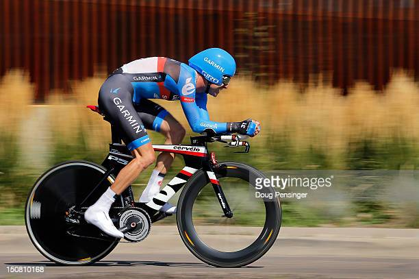 Christain Vande Velde of the USA riding for GarminSharp races to second place in the individual time trial during stage seven to win the general...
