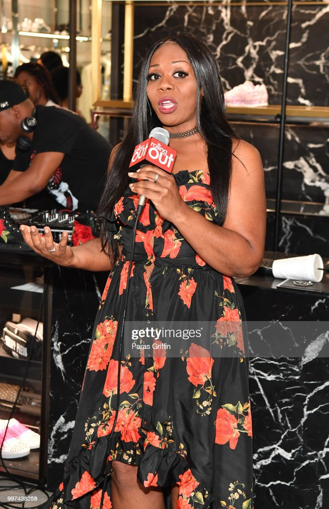 Christal Jordan speaks onstage during Shad Moss 'Rolling Out' Cover Reveal Party at Philipp Plein Store - Phipps Plaza on July 12, 2018 in Atlanta, Georgia.