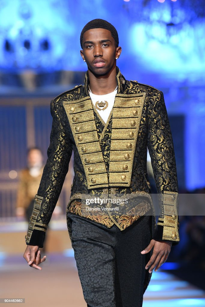 Christan Combs walks the runway at the Dolce & Gabbana show during Milan Men's Fashion Week Fall/Winter 2018/19 on January 13, 2018 in Milan, Italy.