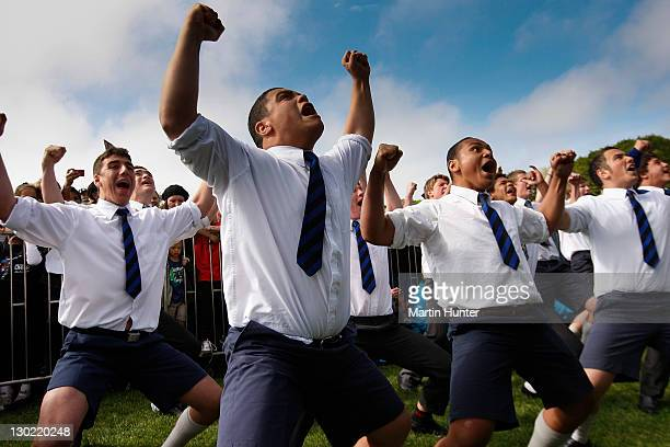 Christchurch Boys High School boys perform a haka during the New Zealand All Blacks 2011 IRB Rugby World Cup celebration parade on October 25 2011 in...