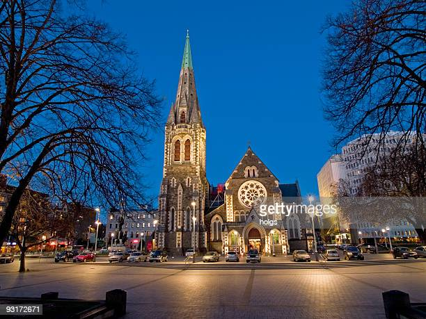 christchurch cathederal - christchurch new zealand stock pictures, royalty-free photos & images