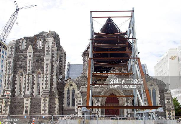 Christchurch Cathedral remains in ruins after it was badly damaged during the February 22 2011 earthquake in Christchurch on February 21 2012 nearly...