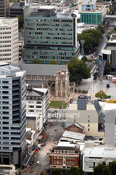 Christchurch Cathedral shows a collapsed spire on February 23 2011 in Christchurch New Zealand A massive search and rescue mission is underway and...