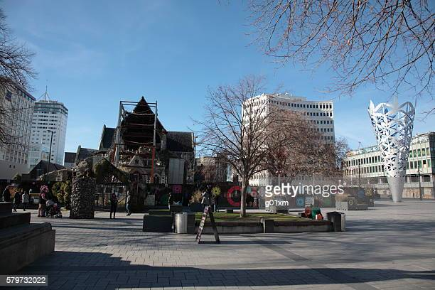 Christchurch cathedral square in Winter