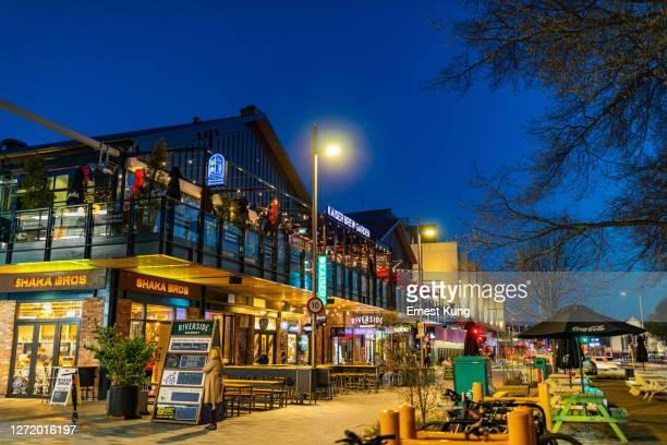 christchurch central: riverside market at oxford terrace and lichfield st - christchurch stock pictures, royalty-free photos & images
