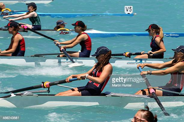 Christchurch Girls compete in the Womens Coxed Four during the 2013 Meridian Otago Championships at Lake Ruataniwha on December 14, 2013 in Otago...