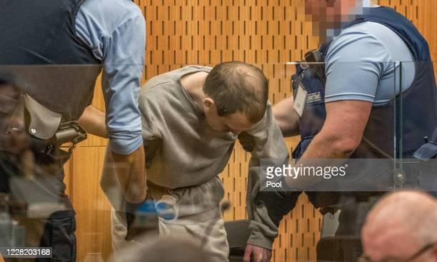 Christchurch mosque gunman Brenton Tarrant arrives for his sentencing hearing at Christchurch High Court on August 26, 2020 in Christchurch, New...