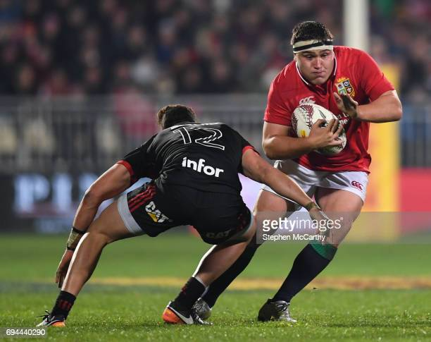 Christchurch New Zealand 10 June 2017 Jamie George of the British Irish Lions in action against David Havili of Crusaders during the match between...