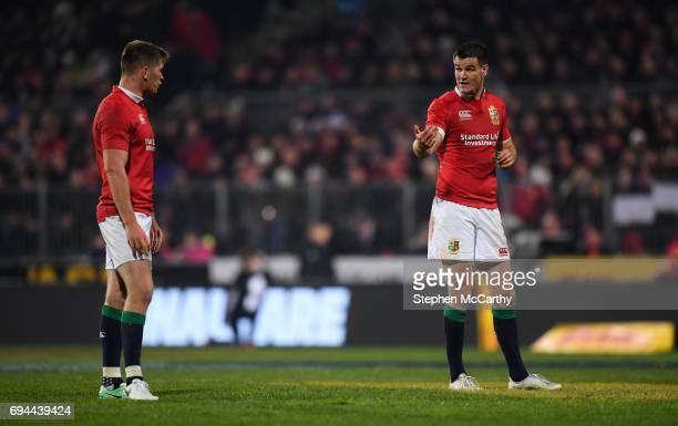 Christchurch New Zealand 10 June 2017 Jonathan Sexton right and Owen Farrell of the British Irish Lions during the match between Crusaders and the...