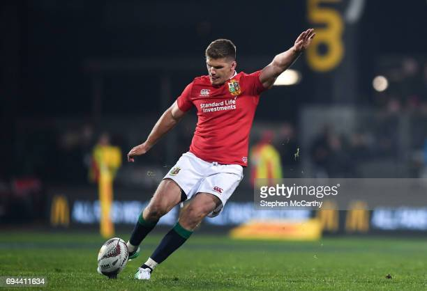 Christchurch New Zealand 10 June 2017 Owen Farrell of the British Irish Lions kicks a penalty during the match between Crusaders and the British...