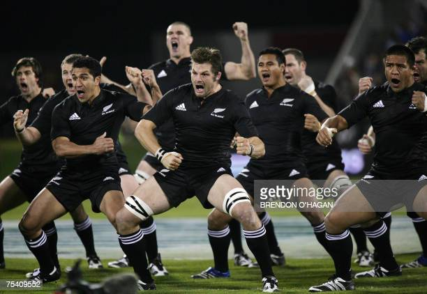 New Zealand All Blacks players perform the Haka during the triNations rugby Test against South Africa Springboks at the Jade Stadium in Christchurch...