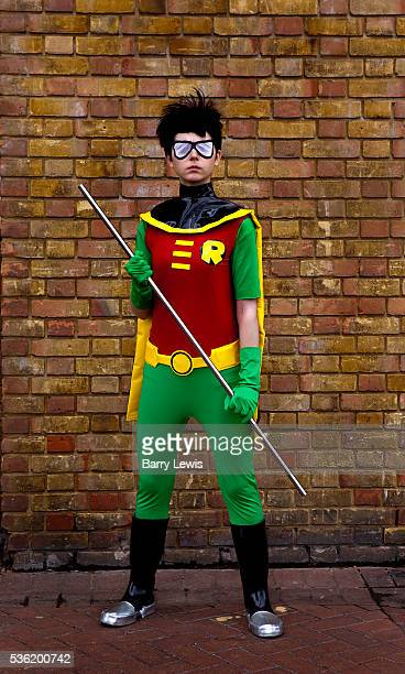 Christel Dee as Robin from Teen Titans attending the London Film and Comic Con LFCC is a convention held annually in London that focuses on films,...