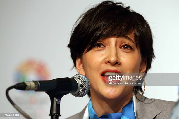Christel Takigawa 'Cool Tokyo' Ambassador talks to the media during a Tokyo 2020 Bid Committee press conference ahead of the 125th IOC Session at...