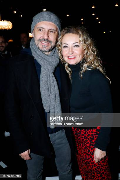 Christelle Chollet and her husband Remy Caccia attend the Alex Lutz's concert with the Group of singer Guy Jamet which he played in the movie Guy at...