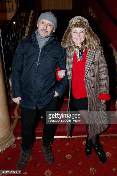 Christelle Chollet and her husband Remy Caccia attend the Michele Bernier One Woman Show Vive Demain at Theatre des Varietes on January 28 2019 in...