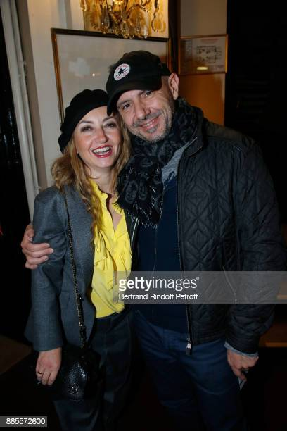 Christelle Chollet and her husband Remy Caccia attend the Ramses II Theater Play at Theatre des Bouffes Parisiens on October 23 2017 in Paris France