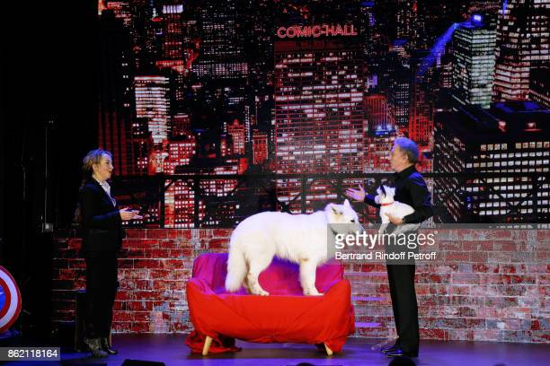 Christelle Chollet and Michel Drucker perform during the One Woman Show by Christelle Chollet for the Inauguration of the Theatre de la Tour Eiffel...