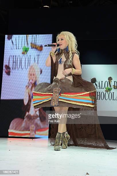 Christelle Chollet dressed by Wanderson Alves de Melo Cemoi attends the Salon Du Chocolat 2014 Fashion Chocolate Show at Parc des Expositions Porte...