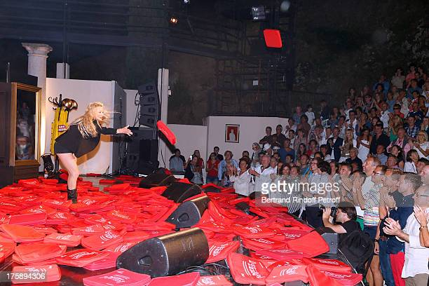 Christelle Chollet during the traditional throw of cushions at the final of her one woman show The New Show written and set stage by Remy Caccia at...