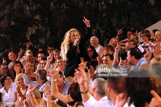 Christelle Chollet performs in her one woman show The New Show written and set stage by Remy Caccia at 29th Ramatuelle Festival day 10 on August 9...