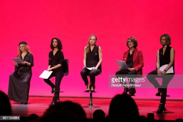 Christelle Chollet Sofia Aram Eden Ducourant Stephanie Bataille and Wendy Bouchard perform Les Monologues du Vagin during 'Paroles Citoyennes 10...