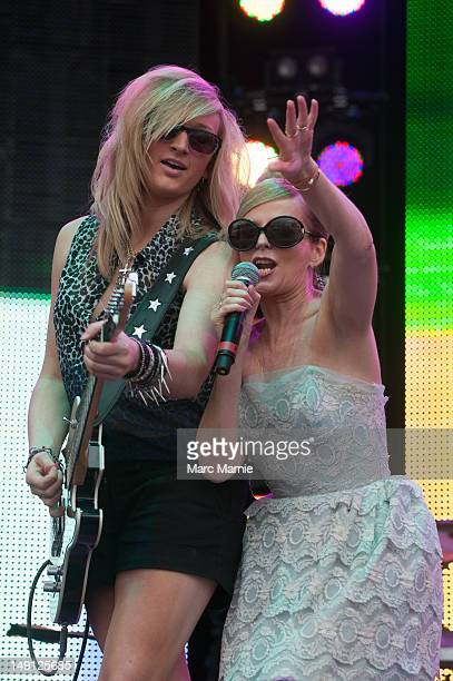 Christelle Kelley and Clare Grogan perform on stage with Altered Images during Rewind Scotland the 80's music festival at Scone Palace on July 22...