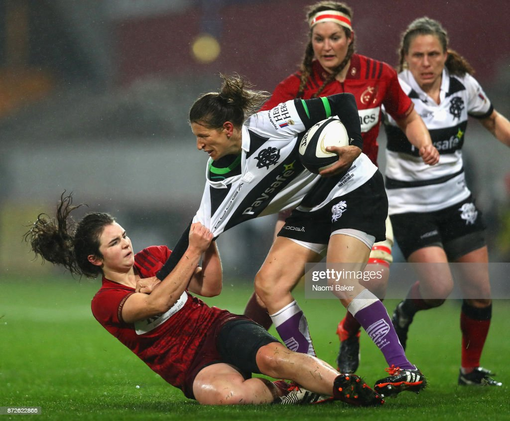 Christelle Le Duff is tackled during the Inaugural Representative Match between Barbarians Women's RFC and Munster Women, on November 10, 2017 in Limerick, Ireland.