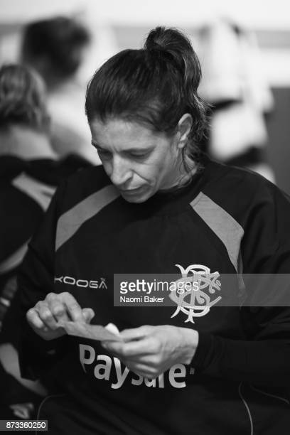 Christelle Le Duff reads french translation cards prior to the Inaugural Representative Match between Barbarians Women's RFC and Munster Women on...