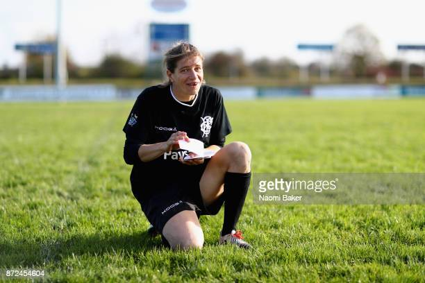 Christelle Le Duff reads translation tactics cards during the Women's Barbarians training session on November 9 2017 in Limerick Ireland