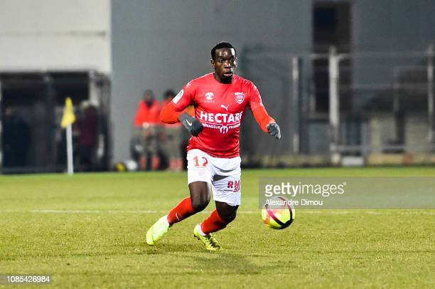 ChristEmmanuel Maouassa of Nimes during the Ligue 1 match between Nimes and Toulouse at Stade des Costieres on January 19 2019 in Nimes France