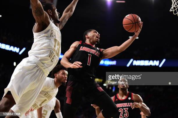 Christen Cunningham of the Louisville Cardinals goes up for a layup against the Georgia Tech Yellow Jackets at Hank McCamish Pavilion on January 19,...