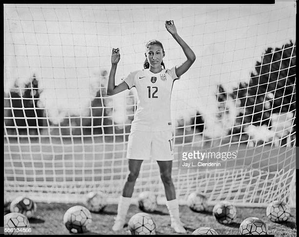 Christen Press a forward with the Women's National Team will compete at the 2016 Rio Olympics and is photographed at Chadwick School where she is an...