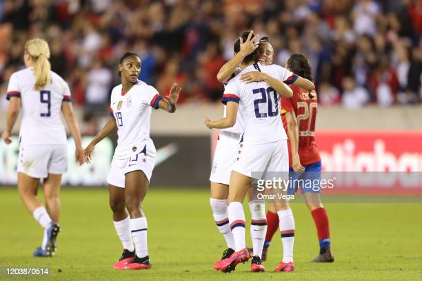 Christen Press and Ali Krieger of USA celebrates 3rd goal during the Group A game between the United States and Costa Rica as part of the 2020...