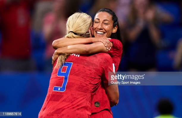 Christen Press and Lindsey Horan of USA celebrating their team's first goal during the 2019 FIFA Women's World Cup France Semi Final match between...