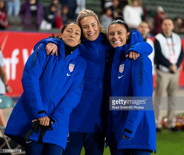 Christen Press Ashlyn Harris and Ali Krieger of the United States pose on the bench during a game between Mexico and USWNT at Dignity Health Sports...