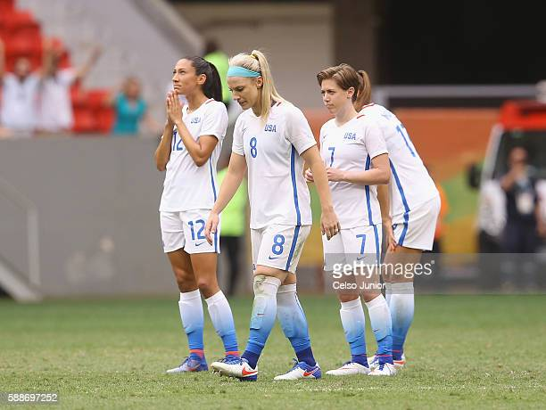 Christen Press Julie Johnston Meghan Klingenberg and Tobin Heath of United States react after their 11 loss to Sweden during the Women's Football...