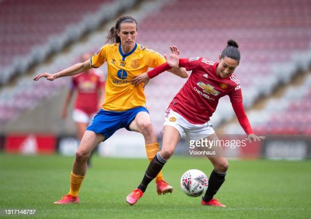 Christen Press of Manchester United and Jill Scott of Everton in action during the Barclays FA Women's Super League match between Manchester United...