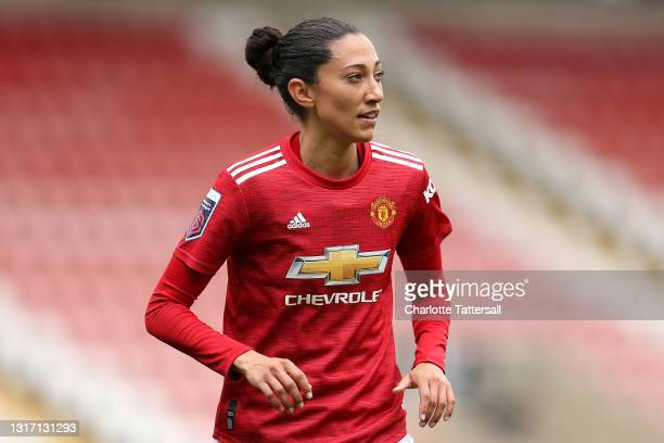 Christen Press of Manchester United looks on during the Barclays FA Women's Super League match between Manchester United Women and Everton Women at...