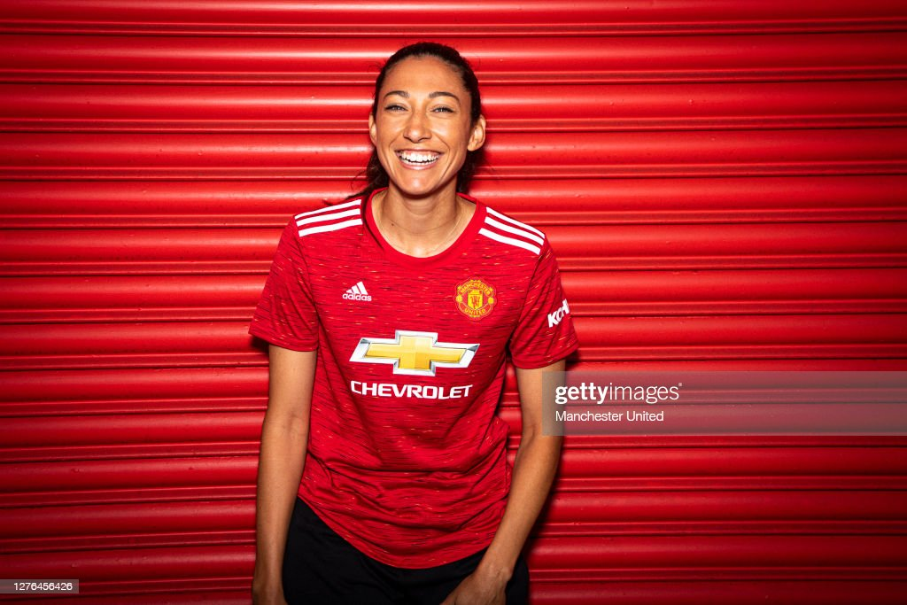 Christen Press Arrives for her first day at Manchester United Women : News Photo