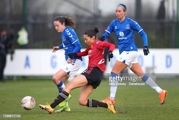 Christen Press of Manchester United Women scores their second goal during the Barclays FA Women's Super League match between Everton Women and...