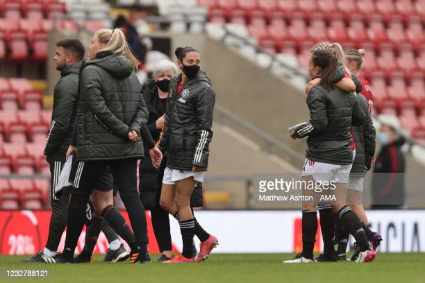 Christen Press of Manchester United Women walks off at full time wearing a face covering during the Barclays FA Women's Super League match between...