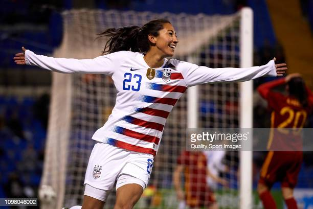Christen Press of The United States celebrates after scoring her sides first goal during the Women's International Friendly match between Spain and...